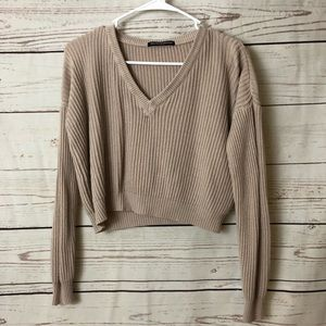 Brandy Melville Cream Cropped Sweater